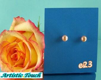 Classic Pearl Stud Earrings, Peach 7-8mm potato pearls, silver posts, Bridal earrings, Classic pearl earrings, weddings, gifts under 10