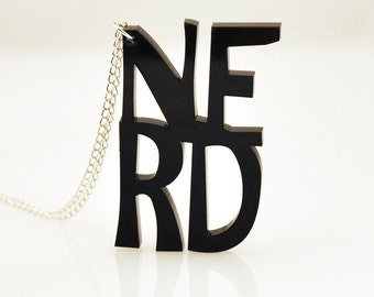 Nerd typographic necklace