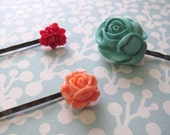 Floral Rose Barrettes - Hair Accessories Bobby Pins - Teal Peach Pink Bronze Resin