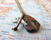Jet Setter Airplane Necklace - Natural Stone Picasso Jasper - Mid Century Modern Bronze Plane