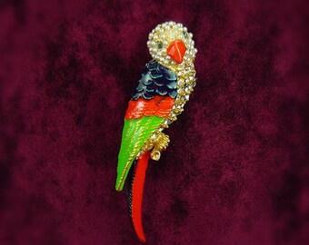 Rhinestone Parrot Brooch