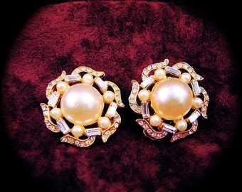FAUX PEARLS and Rhinestone Earrings