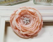 Fabric Flower- Peach -Pin-Brooch-Hair Piece-Weddings-Bridesmaid-Flower Girl-Corsage-Silky-Vintage Style