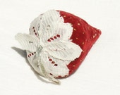 French Pastry - A Large Velvet Strawberry Pincushion with Quartz Sand