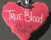 True Blood - An Embroidered Velvet Heart Door Hanger Pillow