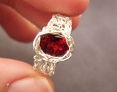 Garnet Ring,  Crochet Sterling Silver Wire