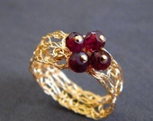 CLEARANCE 50% OFF - Quartet Ring, Crochet Gold Filled Wire and Garnet