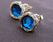 Sapphire Post Earrings, Crochet Sterling Silver Wire and Swarovski Crystal