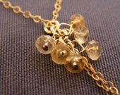 50% OFF - Honey Cluster Necklace with Gold Filled and Citrine