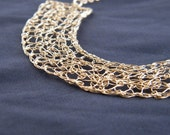 Curve Necklace, Crochet Gold Filled Wire