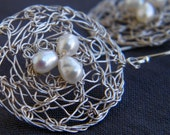 June Birthstone - Queen Earrings, Crochet Sterling Silver Wire and Pearls