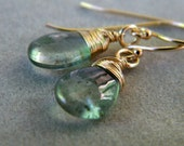 Moss Aquamarine Gold Earrings, 14k Gold Filled Wire