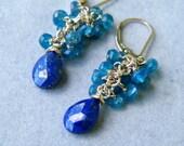 SALE 20%0FF - Lapis Drop Earrings with Apatite Quartz, Chandelier Earrings, Cluster Earrings, OOAK