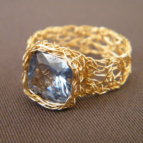 Sky Blue Ring, Crochet Gold Filled Wire and Cubic Zirconia