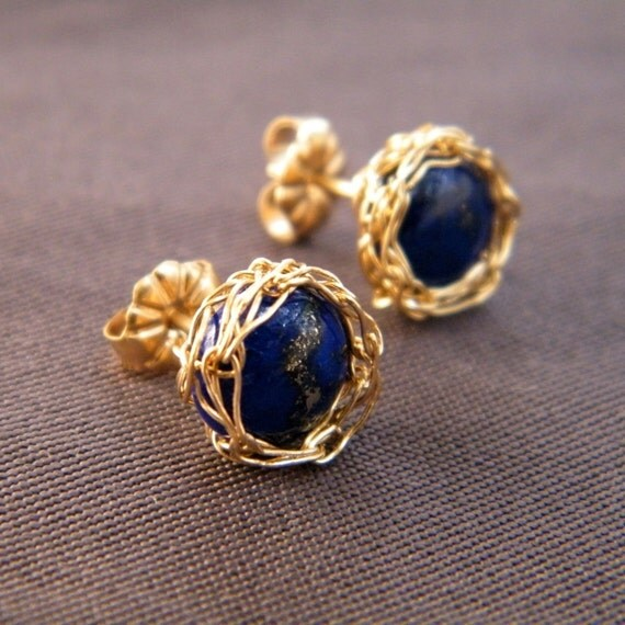 Lapis  Post Earrings With Crochet Gold Filled Wire