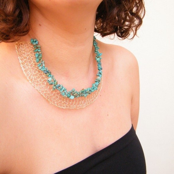 SALE 50% OFF - Princess of the Nile Necklace, Crochet Gold Filled Wire and Turquoise,OOAK