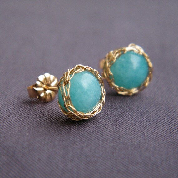 Aqua Post Earrings, Crochet Gold Filled Wire and Amazonite