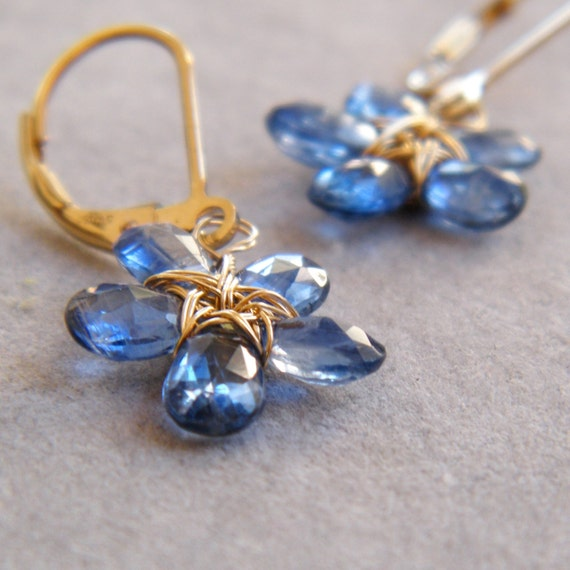 Blue Kyanite Flower Gemstone Earrings, 14k Gold Filled Wire, September Birthstone, September Birthday