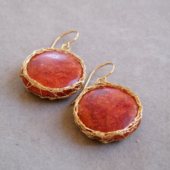 Red Coral Earrings, Crochet Gold Wire