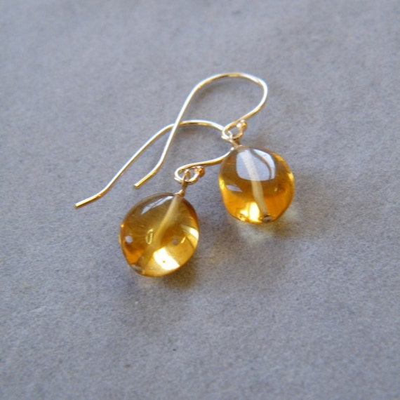 Gold Citrine Earrings, Yellow Gold Dangle Earrings, November Birthstone, Citrine Birhtstone