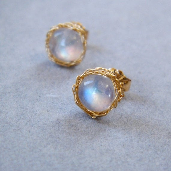 Rainbow Moonstone Earrings, Crochet Gold Wire, Gold Post Earrings