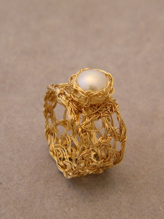 Pearl Gold Ring, Crochet Gold Wire, Wide Band Ring, Ready to ship Size 7