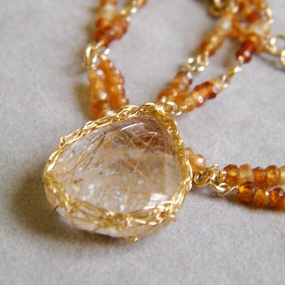 SALE 30% OFF - Gold Rutilated Quartz and Hessonite Garnet Necklace, Crochet Gold Wire, OOAK, January Birthstone, January Birthday