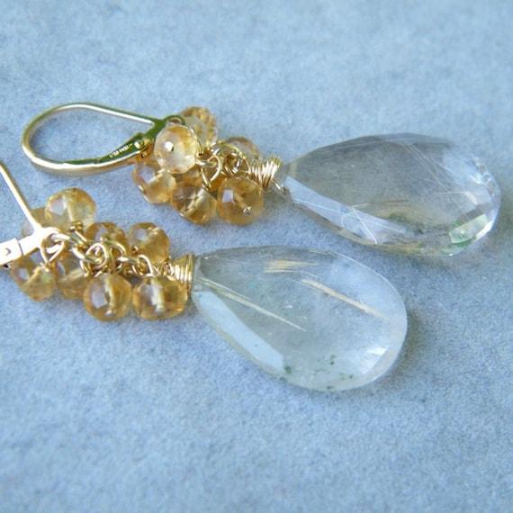 Rutilated Quartz Earrings with Citrine Beads, Gold Citrine Earrings, 14K Citrine Earrings, Chandelier Earrings, Cluster Earrings
