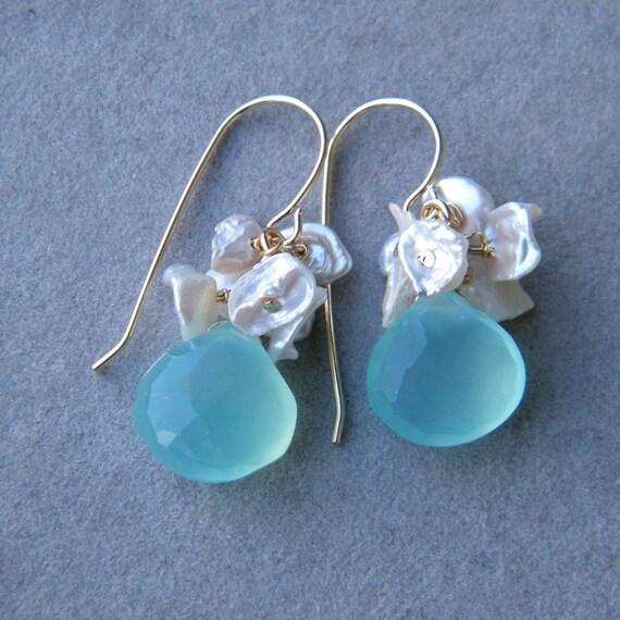 CLEARANCE SALE up tp 70% OFF - Sea Foam Chalcedony and Keishi Pearls Earrings, Chandelier Earrings, Cluster earrings
