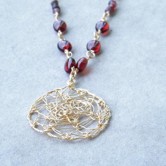 Tourmaline Gold Necklace, Garnet and Pink tTourmaline Necklace Crochet Gold Wire, OOAK