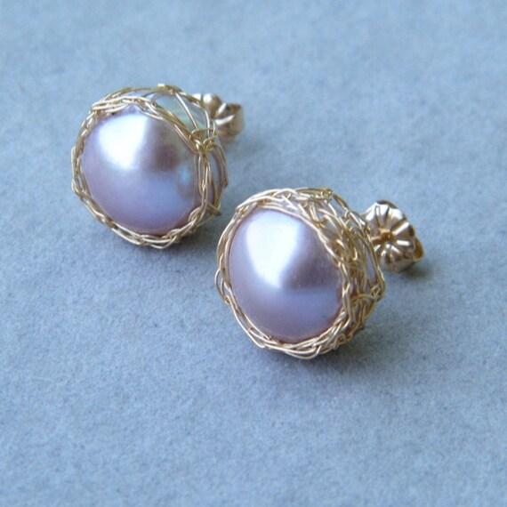 Pink Pearl Stud Earrings, Pearl Post Earrings, Crochet Gold Wire, Crochet Wire Earrings, Large Gold Post, Pearl Bridal Earrings