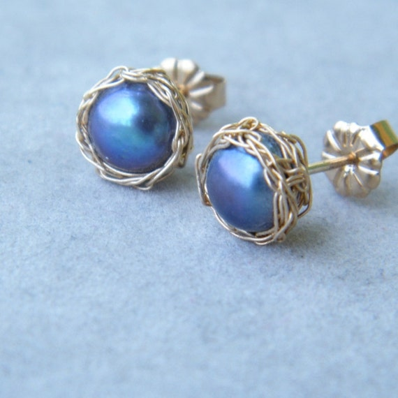 CLEARANCE SALE up tp 70% OFF - Pearl Post Earrings With Crochet Gold Filled Wire