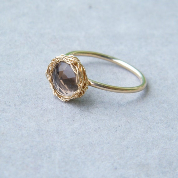 Faceted Smoky Quartz Ring, Crochet Gold Filled Wire, Size 7.5