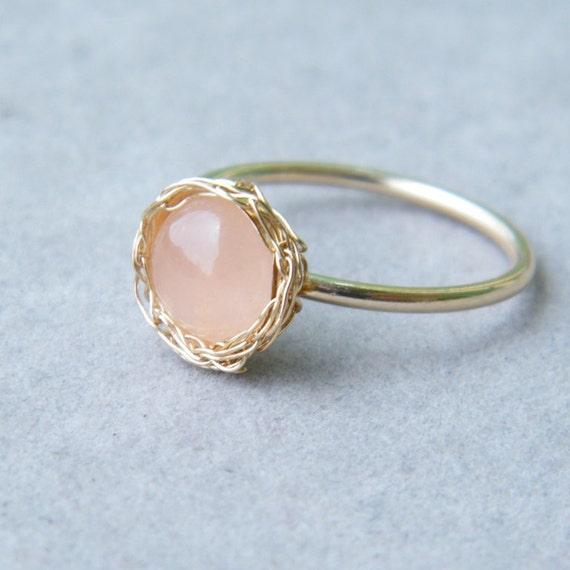 Rose Quartz Ring, Gold Gemstone Ring, Crochet Gold Wire, Wire Crochet Ring, Ready To Ship Size 7