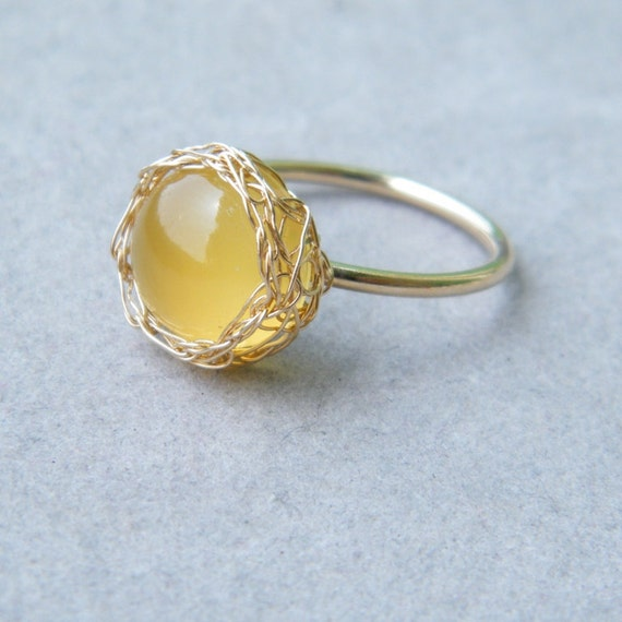 Yellow Chalcedony Ring, Gold Gemstone Ring, Crochet Gold Wire, Wire Crochet Ring, Ready To Ship Size 6