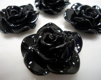 28mm Black Resin Flower Cabochons (4x)