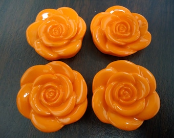 33mm Orange Resin Flower Beads (4x)
