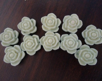 20mm Light Blue Rose Flower Beads (10x)