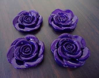 NEW ARRIVAL - 33mm Dark Purple Resin Flower Beads (4x)