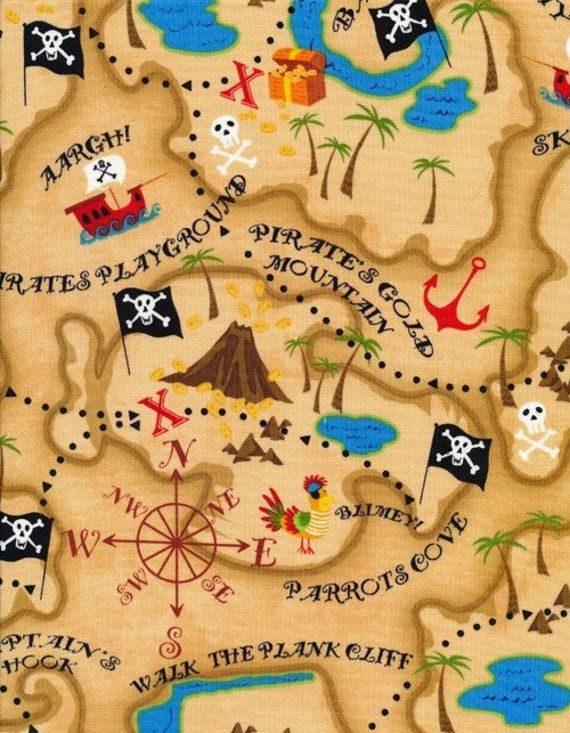 Timeless treasures kids pirate map in neutral 1 yard for Kids pirate fabric