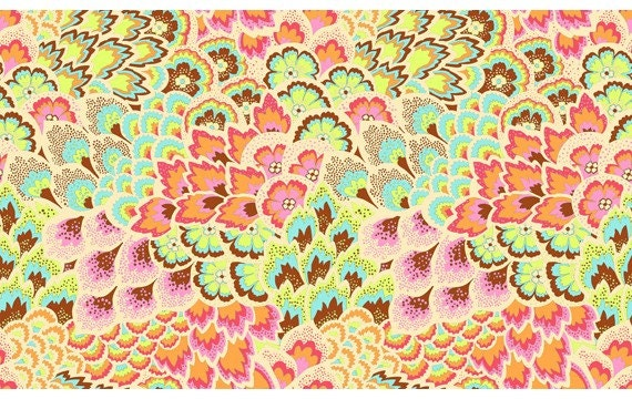 END OF BOLT Sale Amy Butler Soul Blossoms, Peacock Feathers in Blush, 32 inches