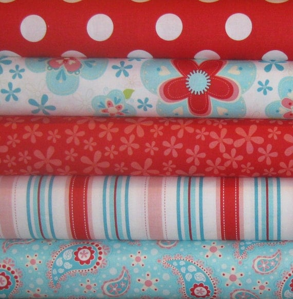 Riley Blake Sugar and Spice Fabric Bundle by the Quilted Fish, 5 Fat Quarters