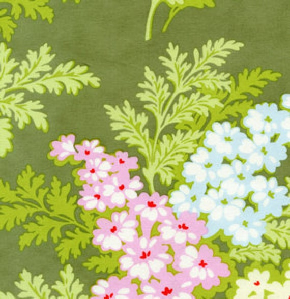 Going Out Of Business Sale Picnic Bouquet in Moss, Heather Bailey Nicey Jane Fabric, 1 Yard