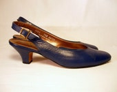 Vintage Blue Leather Sling Back Pumps Heels Ladies Size 7 1\/2 EURO 38 UK 5