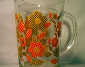 Vintage Checkered Daisy Flower Pitcher Serving Punch Yellow Orange Avocado Green