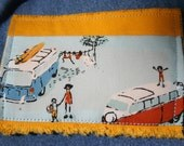 blue jeans-into-skirt and headband SET in VW buses