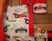 Racecar Apron Set size 2 3 4 5 6 7 8 Chef Hat and Mitt, Great Gift,  Customs available
