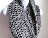 "Grey Scarf Cowl-  Extra Large Chunky Infinity Scarf ""BOGO"", Heather Gray, Fall Fashion, Winter Fashion"