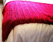 Throw Blanket Burgundy Red Crocheted, Or YOU Choose Color, Warm Red Blanket, Home Decor, Interior Design Pallate, Accent, Made to Order