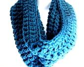 "Blue Infinity Scarf Cowl-  Chunky Dusty Blue Denim Blue Infinity Scarf ""BOGO""  ""Buy one get one 50% off lowest price"""